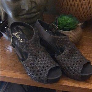 Boho Leather & Cork Sam Edelman Wedge Heels Shoes